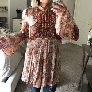 Long blouse with rust pattern